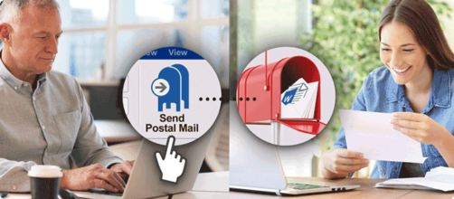 Businessman using the add-in to send physical postal mail to a recipient
